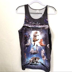 Cats In Space Tank Top Poly Spandex Large
